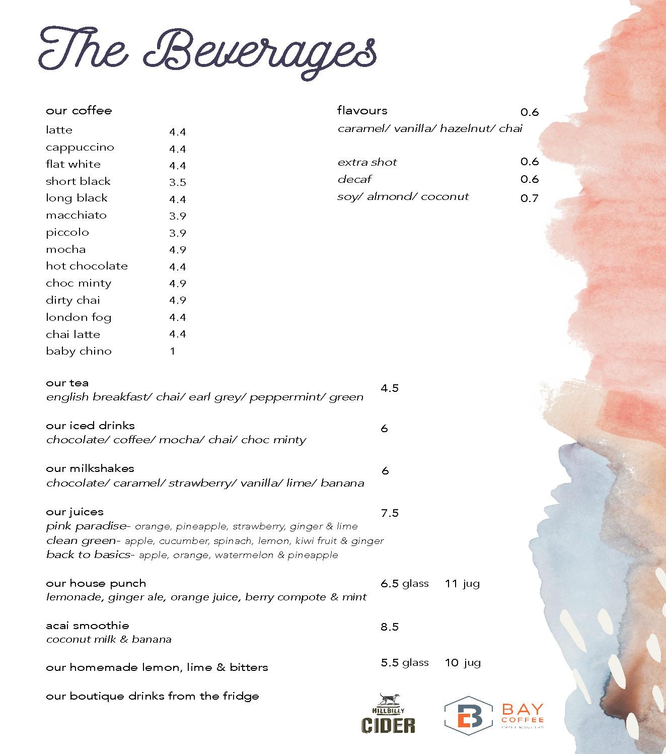 cornerstone drinks menu 2020